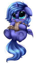 Size: 1417x2503   Tagged: safe, artist:pridark, princess luna, alicorn, bat, pony, blushing, crying, cute, dock, eye reflection, female, filly, floppy ears, foal, lunabetes, nom, on back, plushie, pridark is trying to murder us, reflection, sad, simple background, sitting, smiling, solo, transparent background, underhoof, weapons-grade cute, woona, younger