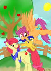 Size: 2344x3216 | Tagged: safe, artist:enigmaticfrustration, artist:freefraq, apple bloom, scootaloo, blank flank, female, fence, lesbian, magical lesbian spawn, male, mother and son, offspring, older, parent:apple bloom, parent:scootaloo, parents:scootabloom, scootabloom, shipping, tree