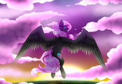 Size: 1024x714 | Tagged: safe, artist:itsizzybel, oc, oc only, oc:cream cloud, pegasus, cloud, female, flying, large wings, pegasus oc, solo, sun, sunset, wings