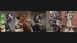 Size: 1920x1080   Tagged: safe, artist:whitepone, oc, oc only, oc:calamity, oc:littlepip, oc:pyrelight, oc:steelhooves, oc:velvet remedy, oc:xenith, balefire phoenix, earth pony, pegasus, phoenix, pony, unicorn, zebra, fallout equestria, applejack's rangers, armor, bandage, battle saddle, clothes, dashite, fanfic, fanfic art, female, floppy ears, fluttershy medical saddlebag, gun, hat, hooves, horn, male, mare, medical saddlebag, power armor, rifle, saddle bag, stallion, steel ranger, vault suit, wallpaper, weapon, wings