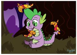 Size: 700x500 | Tagged: safe, artist:snowkuki, peewee, spike, bird, dragon, phoenix, chick, forest, happy, phoenix chick
