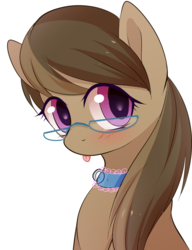 Size: 954x1242 | Tagged: safe, anonymous artist, oc, oc only, oc:dawnsong, earth pony, pony, :p, blushing, bust, collar, colored pupils, cute, female, glasses, looking at you, mare, portrait, simple background, solo, tongue out, white background