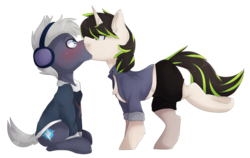 Size: 1024x646   Tagged: safe, artist:oddends, oc, oc only, oc:beat, oc:plot frequency, earth pony, pony, unicorn, bedroom eyes, blushing, clothes, female, hoodie, hot pants, jacket, kissing, male, oc x oc, shipping, simple background, sitting, straight, surprise kiss, surprised, transparent background