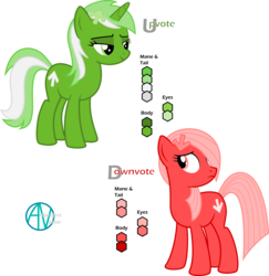 Size: 2500x2577 | Tagged: artist:arifproject, derpibooru, derpibooru ponified, duo, frown, hair over one eye, lidded eyes, looking back, meta, oc, oc:downvote, oc only, oc:upvote, ponified, pony, reference sheet, safe, simple background, smiling, transparent background, vector