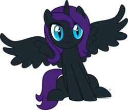 Size: 2000x1720 | Tagged: :3, alicorn, alicorn oc, artist:arifproject, oc, oc:nyx, oc only, pony, safe, simple background, sitting, sitting catface meme, smiling, solo, spread wings, transparent background, vector