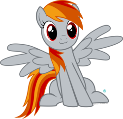 Size: 1800x1740 | Tagged: :3, artist:arifproject, oc, oc only, oc:tridashie, pegasus, pony, safe, simple background, sitting, sitting catface meme, solo, spread wings, transparent background, vector