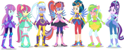 Size: 7000x2815 | Tagged: safe, artist:limedazzle, edit, part of a set, vector edit, applejack, fluttershy, indigo zap, lemon zest, moondancer, pinkie pie, rainbow dash, rarity, sci-twi, sour sweet, starlight glimmer, sugarcoat, sunny flare, sunset shimmer, twilight sparkle, equestria girls, legend of everfree, absurd resolution, alternate universe, boots, clothes, clothes swap, crystal guardian, crystal wings, dress, eyes closed, goggles, high heel boots, holding hands, humane five, mane six, ponied up, request, shadow five, shoes, show accurate, simple background, smiling, sparkles, super ponied up, transparent background, vector, visor, wings