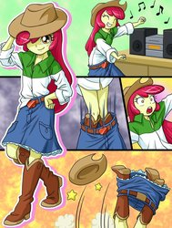 Size: 782x1035   Tagged: safe, artist:uotapo, apple bloom, equestria girls, somepony to watch over me, accessory theft, adorable face, adorabloom, applejack's hat, beautiful, belt, boombox, boots, bottomless, clothes, clothes swap, comic, cowboy boots, cowboy hat, cowgirl, cropped, cute, dancing, denim skirt, fail, female, funny, hat, hat off, legs, music, music notes, oops, open mouth, orange eyes, ouch, oversized clothes, partial nudity, red hair, shoes, skirt, skirt around legs, skirt lift, solo, stetson, tripping, yellow skin