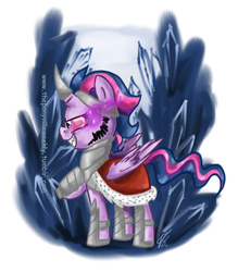 Size: 675x771   Tagged: safe, artist:vago-xd, part of a set, king sombra, twilight sparkle, alicorn, pony, unicorn, bevor, boots, cape, chestplate, clothes, costume, crown, crystal, dark crystal, female, gorget, horn, horn cap, horseshoes, jewelry, nightmare night, nightmare night costume, regalia, robe, shoes, simple background, solo, sombra eyes, sombra's cape, tiara, twilight sparkle (alicorn), white background