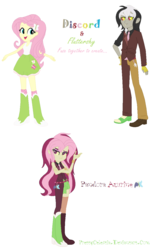 Size: 768x1227 | Tagged: safe, artist:prettycelestia, discord, fluttershy, equestria girls, ambiguous gender, clothes, fangs, fusion, gem fusion, multiple arms, skirt, steven universe, tanktop