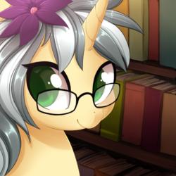 Size: 3900x3900 | Tagged: safe, artist:starshinebeast, oc, oc only, oc:mercury shine, pony, unicorn, book, flower, flower in hair, glasses, solo
