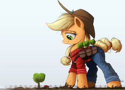 Size: 3000x2164 | Tagged: applejack, applejack bunyan, artist:ncmares, big-apple-pony, clothes, giant pony, hat, macro, pants, paul bunyan, pony, rainbow dash, safe, signature, size difference, smoldash