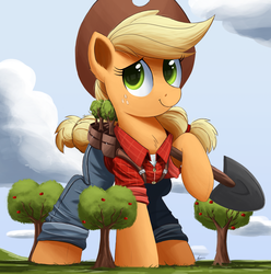 Size: 2000x2015 | Tagged: applejack, applejack bunyan, artist:ncmares, big-apple-pony, chest fluff, clothes, cowboy hat, cute, freckles, giant pony, hat, jackabetes, johnny appleseed, macro, ncmares is trying to murder us, pants, paul bunyan, plaid shirt, pony, safe, shovel, signature, solo, stetson