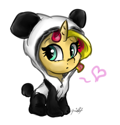 Size: 2299x2407 | Tagged: animal costume, artist:gaelledragons, clothes, costume, cute, filly, filly sunset, fluffy, frown, heart, hnnng, looking at you, panda, panda costume, pony, safe, shimmerbetes, signature, sitting, solo, sunset shimmer, weapons-grade cute, younger