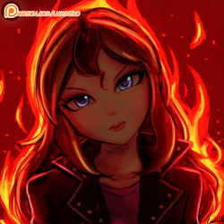Size: 1000x1000 | Tagged: safe, artist:lumineko, sunset shimmer, human, equestria girls, angry, badass, beautiful, blue eyes, clothes, female, fiery shimmer, fire, flaming hair, frown, glare, head tilt, humanized, jacket, leather jacket, lipstick, looking at you, madorable, patreon, patreon logo, solo, wrong eye color