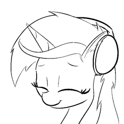 Size: 600x600 | Tagged: safe, artist:cheshiresdesires, lyra heartstrings, pony, unicorn, black and white, bust, ear fluff, eyes closed, female, grayscale, happy, headphones, monochrome, portrait, simple background, smiling, solo, white background