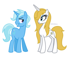 Size: 1304x1032 | Tagged: safe, artist:estefania200, prince blueblood, trixie, pony, unicorn, bluetrix, male, princess bluebelle, rule 63, shipping, simple background, straight, transparent background, tristan, vector