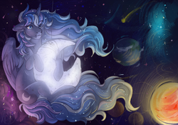Size: 1555x1090   Tagged: safe, artist:1an1, princess luna, female, floppy ears, hug, moon, planet, solo, space, sun, surreal, tangible heavenly object