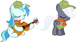 Size: 14801x8349 | Tagged: safe, artist:cyanlightning, oc, oc only, oc:aureai gray, oc:cyan lightning, .svg available, absurd resolution, clothes, colt, female, filly, guitar, hat, male, simple background, transparent background, vector