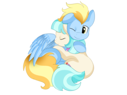 Size: 2353x1752 | Tagged: safe, artist:pridark, coco pommel, lightning streak, cocostreak, crack shipping, cuddling, hug, male, shipping, simple background, snuggling, straight, transparent background