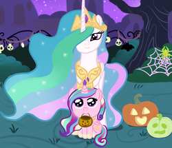Size: 1024x880 | Tagged: safe, artist:kuromi, princess cadance, princess celestia, spider, auntlestia, clothes, costume, cute, cutedance, cutelestia, filly, filly cadance, hair over one eye, halloween, jack-o-lantern, looking at you, nightmare night, nightmare night costume, pumpkin, pumpkin bucket, sitting, smiling, spider web, teen princess cadance, tree, young, younger