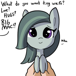 Size: 1080x1080 | Tagged: safe, artist:tjpones, part of a set, marble pie, earth pony, pony, cute, daaaaaaaaaaaw, female, hand, holding a pony, implied big macintosh, implied marblemac, looking at you, marblebetes, mhm, offscreen character, part of a series, pov, simple background, smiling, solo focus, tiny ponies, tjpones is trying to murder us, weapons-grade cute, what do you want, white background