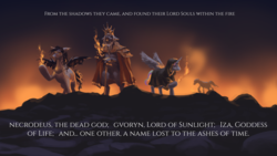 Size: 3840x2160 | Tagged: safe, artist:fpbarros, bat pony, dragon, pony, comic:in the beginning, cloak, clothes, crossover, crown, dark souls, fire, first flame, furtive pygmy, gravelord nito, gwyn, jewelry, lord soul, regalia, witch of izalith