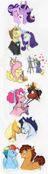 Size: 600x2165   Tagged: safe, artist:vindhov, applejack, donut joe, fluttershy, pinkie pie, ponet, quibble pants, rainbow dash, rarity, soarin', starlight glimmer, trouble shoes, twilight sparkle, alicorn, pony, rabbit, alternate hairstyle, blushing, canvas, easel, eyes closed, female, floppy ears, glowing horn, hat, heart, heart eyes, kissing, lesbian, levitation, lidded eyes, looking at each other, looking back, magic, male, mane six, open mouth, paintbrush, painting, ponetshy, prone, quibbledash, rainbow power, rarijoe, shipping, sitting, smiling, soarinjack, straight, telekinesis, trouble pie, twilight sparkle (alicorn), twistarlight, wingding eyes