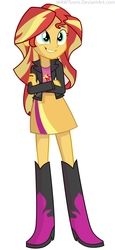Size: 3691x8000 | Tagged: safe, artist:wawtoons, sunset shimmer, equestria girls, absurd resolution, boots, clothes, cute, female, high heel boots, high heels, jacket, leather jacket, simple background, skirt, solo, vector, white background