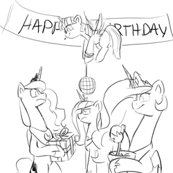 Size: 1200x1200 | Tagged: alicorn, alicorn tetrarchy, artist:anticular, ask sunshine and moonbeams, banner, bipedal, black and white, bowl, cadance is not amused, disco ball, flying, grayscale, lidded eyes, monochrome, pony, present, princess cadance, princess celestia, princess luna, safe, simple background, smiling, spread wings, twilight sparkle, twilight sparkle (alicorn), unamused, white background