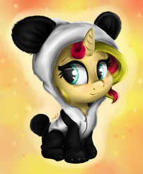 Size: 1969x2407 | Tagged: safe, artist:gaelledragons, sunset shimmer, panda, pony, unicorn, animal costume, blushing, clothes, costume, cute, daaaaaaaaaaaw, female, filly, filly sunset shimmer, lineless, panda costume, shimmerbetes, sitting, smiling, solo, younger
