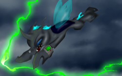 Size: 1920x1200 | Tagged: safe, artist:coffeerings, oc, oc only, oc:hero, changeling, fallout equestria, changeling oc, flying, solo
