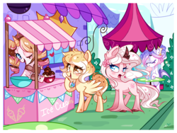Size: 2000x1500 | Tagged: artist:ipun, blushing, bowl, cherry, classical unicorn, cloven hooves, eyes closed, food, heart, heart eyes, ice cream, leonine tail, milkshake, oc, oc:chocolate chip, oc:frozen confection, oc:moonaroon, oc only, oc:weary blossom, one eye closed, open mouth, pegasus, pony, raised hoof, safe, shopkeeper, smiling, spread wings, table, unicorn, unshorn fetlocks, wingding eyes, wink