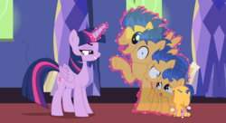 Size: 11000x6000 | Tagged: safe, artist:evilfrenzy, flash sentry, twilight sparkle, alicorn, pony, absurd resolution, age regression, baby, baby pony, crying, diaper, evil grin, evil twilight, foal, grin, magic abuse, pure unfiltered evil, smiling, transformation, twibitch sparkle, twilight sparkle (alicorn)