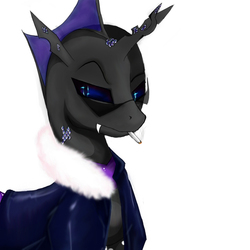 Size: 1000x1000   Tagged: safe, artist:phobos-ilungian, oc, oc only, oc:phobos, changeling, changeling oc, cigarette, clothes, crystal, fangs, fluffy, glasses, jacket, leather, male, purple, purple changeling, selfie, smoke, solo, stallion