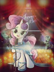 Size: 1500x2000 | Tagged: safe, artist:ruhisu, blue note, coloratura, sweetie belle, earth pony, pony, unicorn, beautiful, clothes, dress, ear piercing, earring, gown, jewelry, lovely, luxor hotel & casino, microphone, musical instrument, neon, older, open mouth, piano, piercing, rara, saxophone, singing, stage