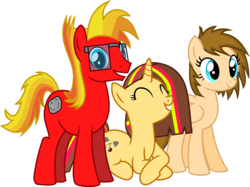 Size: 5979x4483 | Tagged: safe, artist:peahead, oc, oc only, oc:cherry lights, oc:stellar winds, oc:strong boulder, earth pony, pegasus, pony, unicorn, absurd resolution, cutie mark, glasses, show accurate, simple background, smiling, transparent background, update, vector, wip