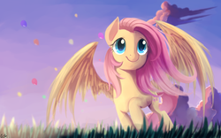 Size: 2560x1600 | Tagged: safe, artist:gianghanz, fluttershy, pegasus, pony, balloon, cloud, cute, female, grass, grass field, mare, raised hoof, scenery, shyabetes, sky, smiling, solo