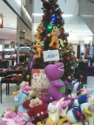 Size: 1200x1600 | Tagged: safe, photographer:danyalrozali, applejack, fluttershy, pinkie pie, rainbow dash, rarity, twilight sparkle, barney the dinosaur, christmas, christmas tree, donald duck, irl, jackletree, malaysia, mane six, mickey mouse, multeity, photo, plushie, so much flutter, tree