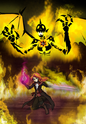 Size: 630x906   Tagged: safe, artist:crydius, sunset shimmer, demon, human, badass, bloodborne, clothes, crossover, element of magic, fire, humanized, magic, story included, sword, weapon