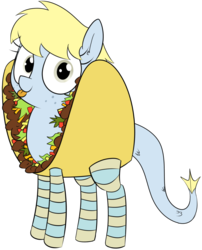 Size: 1280x1587   Tagged: safe, artist:wafflecakes, oc, oc only, oc:flo, merpony, clothes, costume, cute, food, looking at you, simple background, smiling, socks, solo, striped socks, taco, tongue out, transparent background