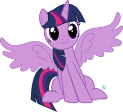 Size: 2001x1816   Tagged: safe, artist:arifproject, twilight sparkle, alicorn, pony, :3, cute, female, mare, simple background, sitting, sitting catface meme, solo, spread wings, transparent background, twiabetes, twilight sparkle (alicorn), vector