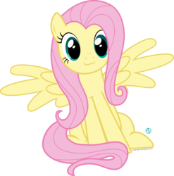 Size: 2000x2027 | Tagged: :3, artist:arifproject, cute, fluttershy, pony, safe, shyabetes, simple background, sitting, sitting catface meme, solo, spread wings, transparent background, vector