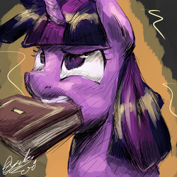 Size: 2000x2000 | Tagged: safe, artist:toisanemoif, twilight sparkle, alicorn, pony, book, bookhorse, bust, confused, female, looking up, mouth hold, raised eyebrow, solo, twilight sparkle (alicorn), wide eyes