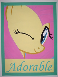 Size: 2112x2816 | Tagged: safe, artist:iceroadlion, fluttershy, cute, female, one eye closed, painting, poster, shyabetes, solo, wink