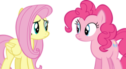 Size: 15064x8308 | Tagged: safe, artist:cyanlightning, fluttershy, pinkie pie, buckball season, .svg available, absurd resolution, duo, looking at each other, simple background, transparent background, vector