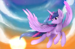 Size: 6400x4200 | Tagged: safe, artist:alice tam, artist:alicetam, twilight sparkle, alicorn, pony, absurd resolution, flying, solo, spread wings, twilight sparkle (alicorn)