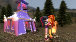 Size: 1360x768   Tagged: safe, artist:mk513, artist:timetimeout, sci-twi, sunset shimmer, twilight sparkle, equestria girls, legend of everfree, 3d, camper, campfire, clothes, female, forest, gmod, kissing, lesbian, missing accessory, scitwishimmer, shipping, shorts, sunsetsparkle, tent