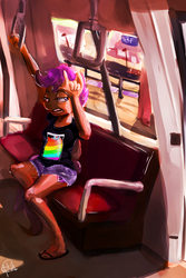 Size: 4000x6000 | Tagged: safe, artist:toisanemoif, scootaloo, anthro, plantigrade anthro, annoyed, clothes, cutie mark, daisy dukes, female, sandals, shorts, sitting, solo, the cmc's cutie marks, train