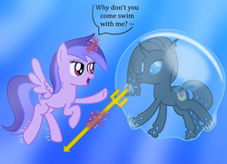 Size: 3101x2250 | Tagged: alicorn, alicornified, aquaphilia, artist:bladedragoon7575, bubble, bubble fetish, changeling, changeling oc, gills, in bubble, magic, oc, oc:savvy, peril, pony, race swap, safe, seafoam, sea swirl, swirlicorn, this will end in drowning, trident, underwater